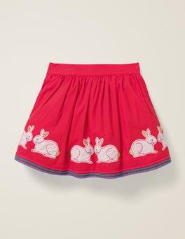 Carmine Red Bunnies Appliqué Hem Skirt