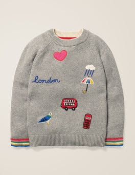 Grey Marl London Embroidered Badge Sweater