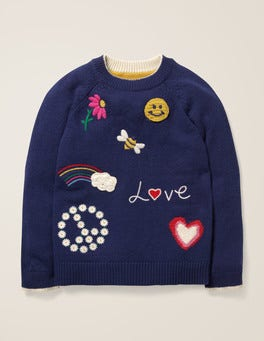 Navy Love Embroidered Badge Sweater