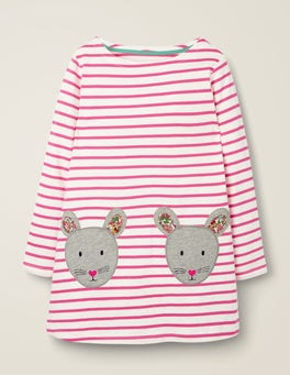 Ivory/Pink Sorbet Mice Appliqué Pocket Tunic
