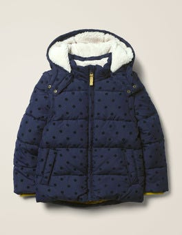 Navy Flock Spot Cosy 2-in-1 Padded Jacket