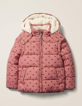 Dusky Rose Pink Flock Spot Cosy 2-in-1 Padded Jacket