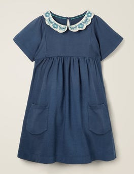 College Blue Embroidered Collar Dress