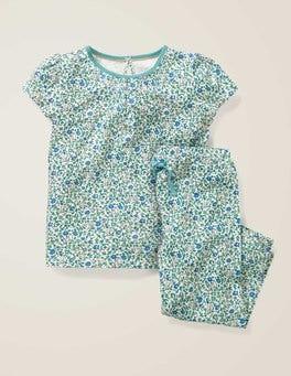 Naturweiß, Kleines Blumenmuster Gemusterter Schlafanzug