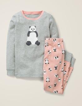 Chalky Pink Pandas Cosy Long John Pajamas