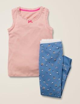 Elizabethan Blue Star Sprig Vest Pyjama Set