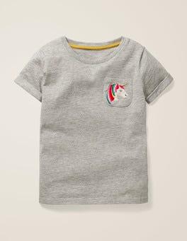 Grey Marl Unicorn Pocket Detail T-shirt