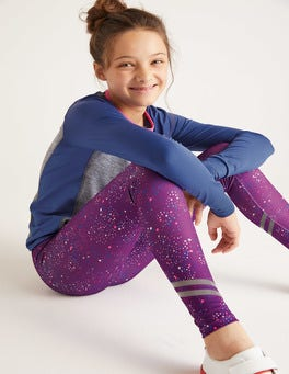 Pansy Purple Painterly Dot Active Leggings