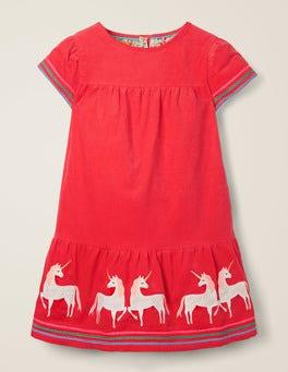 Carmine Red Unicorn Tiered Dress
