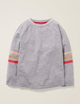 Grau Meliert Raglan-T-Shirt mit Streifen