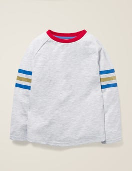 Naturweiß Raglan-T-Shirt mit Streifen