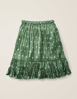 Bean Green/Ivory Heart Spot Printed Ruffle Midi Skirt