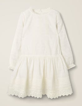 Ivory Broderie Detail Dress