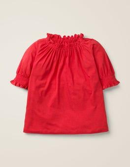 Carmine Red Ruffle Top