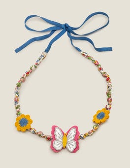Chalky Pink Butterfly Fabric Necklace
