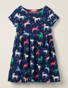 College Blue Unicorns Fun Jersey Dress