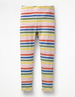 Grau Meliert, Regenbogen Leggings mit Streifen und Punkten