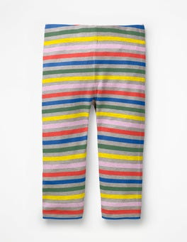 Grey Marl Rainbow Stripe & Spot Cropped Leggings