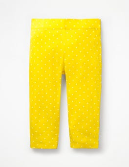 Sunshine Yellow Pin Spot Stripe & Spot Cropped Leggings