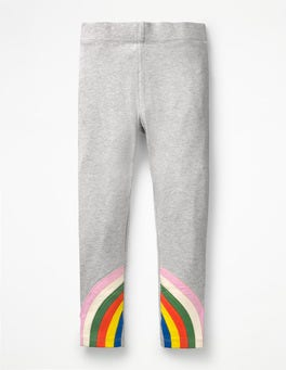 Grey Marl Rainbows Appliqué Leggings