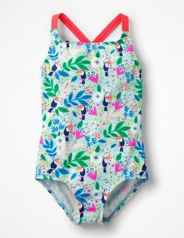 Blue Quartz Toucan Garden Cross-back Swimsuit