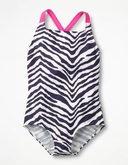 Navy Zebra Cross-back Swimsuit