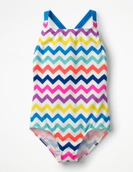 Rainbow Chevron Cross-back Swimsuit