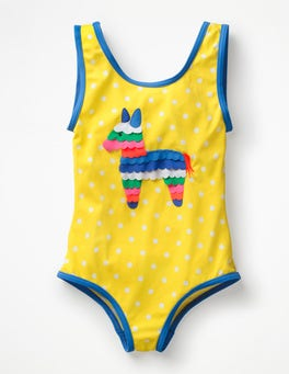 Sunshine Yellow Spot Piñata Appliqué Swimsuit