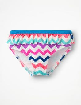 Regenbogen, Zickzackmuster Bikinihose mit Rüschen