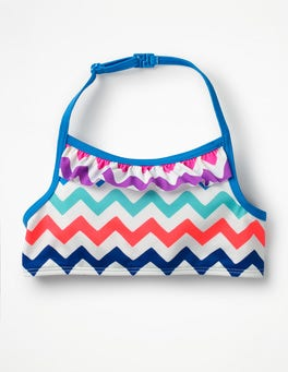 Rainbow Chevron Ruffle Bikini Top