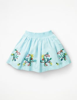 Pale Blue Toucans Bright Embellished Skirt