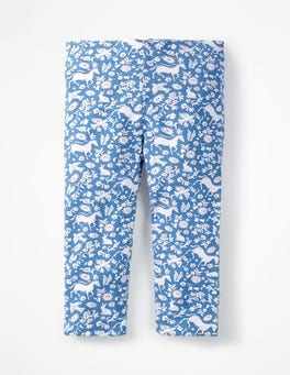 Elizabethan Blue Wild Ponies Fun Cropped Leggings