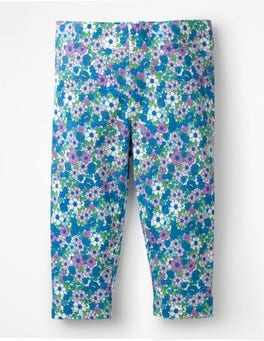 Sea Breeze Blue Forget Me Not Fun Cropped Leggings