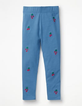 Elizabethan Blue Cherries Embroidered Leggings