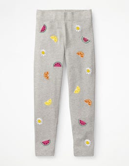 Grey Marl Fruits Embroidered Leggings