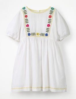 White Embroidered Boho Dress