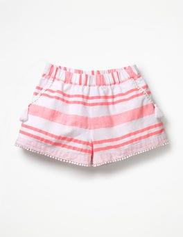 Fluoro Pink Stripe Tassel Detail Shorts