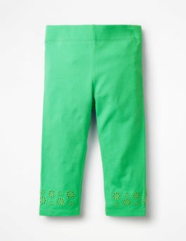 Parrot Green Broderie Cropped Leggings