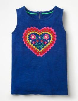 Wellenblau Trägershirt mit Herzapplikation
