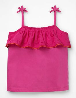 Pink Glo Broderie Tank