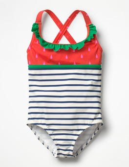 Ivory/Deep Sea Blue Strawberry Colourful Frill Swimsuit