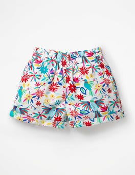 Multi Carnival Birds Colourful Woven Shorts