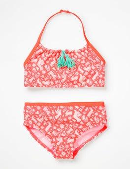 Neon Orange Folk Friends Tassel Bikini Set