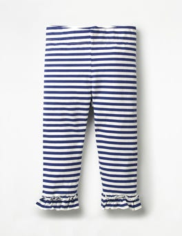 Wellenblau/Weiß Kurz geschnittene Rüschenleggings