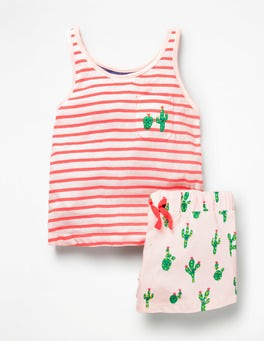 Parisian Pink Happy Cacti Fun Pocket Pyjama Set