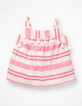 Fluoro Pink Stripe Strappy Tassel Detail Top