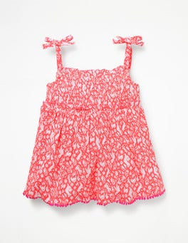 Flamingo Pink Folk Friends Fun Strappy Smocked Top