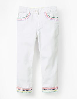 White Embroidered Hem Capri Trousers