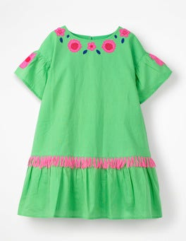 Parrot Green Tropical Woven Appliqué Dress