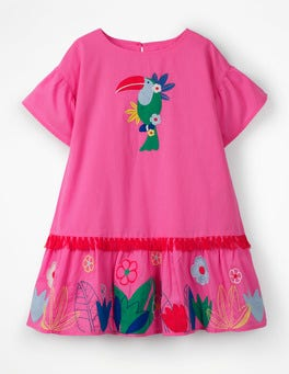 Festival Pink Tropical Woven Appliqué Dress